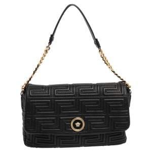 Versace Black Leather Medusa Shoulder Bag