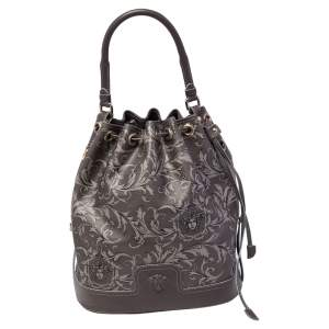 Versace Grey Barocco Heritage Coated Canvas And Leather Drawstring Bucket Bag