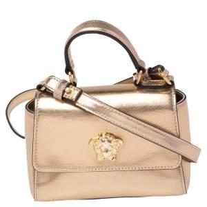 Versace Gold Leather Medusa Flap Crossbody Bag