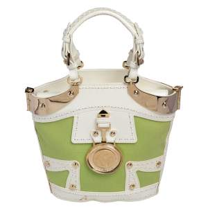Versace Green/White Patent Leather And Canvas Tote