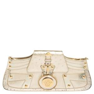 Versace Gold Leather and Ostrich Embossed Leather Medusa Clutch