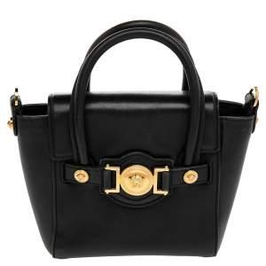 Versace Black Leather Mini Signature Satchel