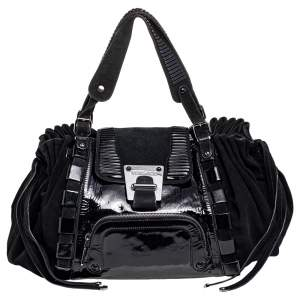 Versace Black Patent Leather And Suede Flap Tote
