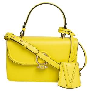 Versace Yellow/Purple Leather DV One Flap Top Handle Bag