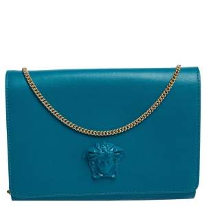 Versace Blue Leather Medusa Chain Clutch