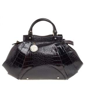 Versace Black Croc Embossed Leather Satchel