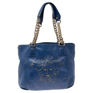 Versace Blue Perforated Logo Leather Chain Tote