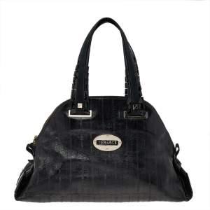 Versace Black Leather Zip Satchel
