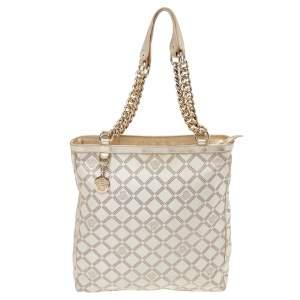 Versace Beige Leather And Canvas Shoulder Bag