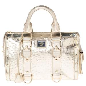 Versace Metallic Gold Ostrich Embossed Leather Snap Out Of It Satchel