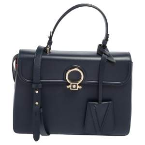 Versace Navy Blue/Orange Leather And Suede DV One Top Handle Bag