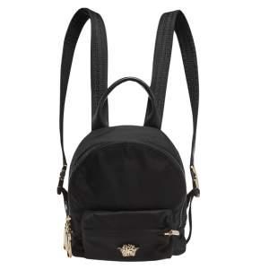 Versace Black Nylon and Leather Trim Mini Medusa Backpack