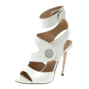 Versace White Leather Peep Toe Cutout Ankle Strap Sandals Size 35.5