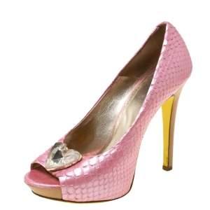 Versace Pink Python Embossed Leather Heart Crystal Embellished Peep Toe Platform Pumps Size 37