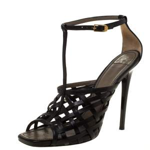 Versace Black Leather Strappy Sandals Size 41