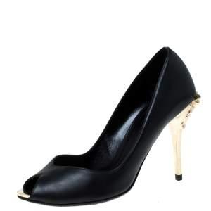 Versace Black Leather Peep Toe Medusa Heel Pumps Size 35.5