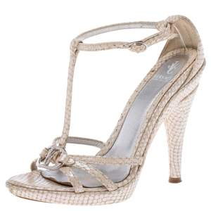 Versace White Python Embossed Leather T Ankle Strap Sandals Size 36