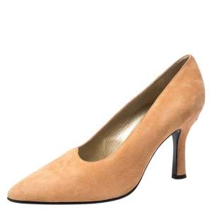 Versace Beige Suede Pointed Toe Pumps Size 38.5