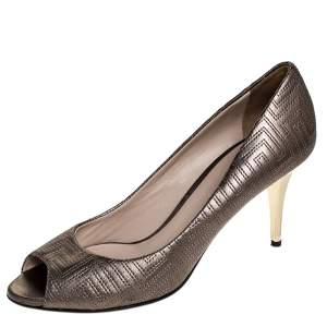 Versace Metallic Grey Embroidered Leather Peep Toe Platform Pumps Size 38