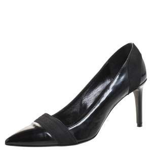 Versace Black Patent Leather Pointed Toe Pumps Size 39