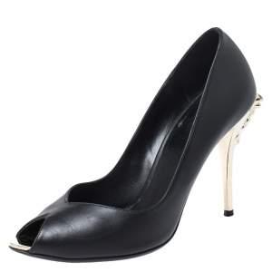 Versace Black Leather Peep Toe Medusa Heel Pumps Size 37