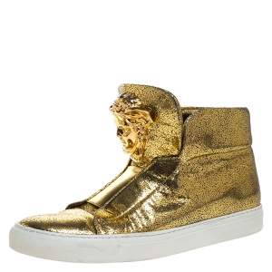 Versace Metallic Gold Crackle Leather Medusa High Top Sneakers Size 40