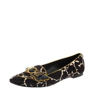 Versace Brown/White Leopard Print Calfhair and Leather Flats Size 39.5