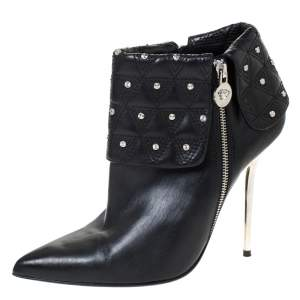 Versace Black Quilted Leather Fold Studded Pointed Toe Ankle Boots Size 41