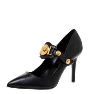 Versace Black Leather Medusa Strap Pointed Toe Pumps Size 36
