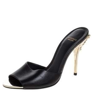 Versace Black Leather Medusa Heel Slide Sandals Size 37