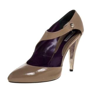 Versace Brown Patent Leather Half D'Orsay Ankle Strap Pumps Size 34.5