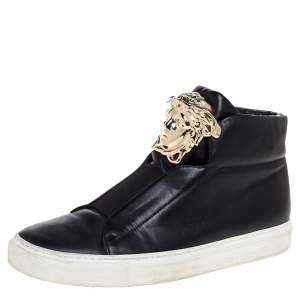 Versace Black Leather Palazzo Medusa High Top Sneakers Size 37