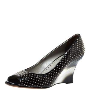 Versace Black Patent Studded Peep Toe Pumps Size 37