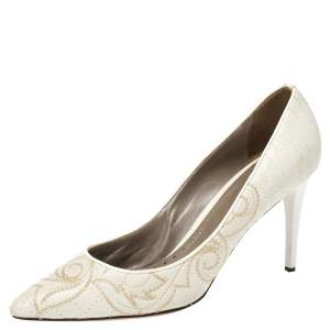 Versace White Embroidered Quilted Leather Pointed Toe Pumps Size 39