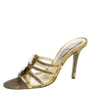 Versace Yellow Lizard Crystal Embellished Slide Sandals Size 38