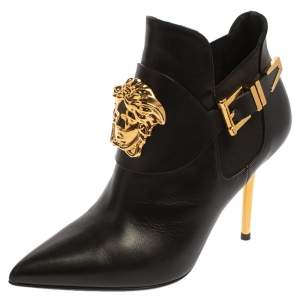 Versace Black Leather Medusa Head Booties Size 35