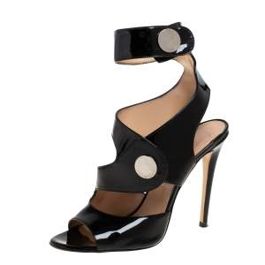 Versace Black Patent Leather Ankle Cuff Sandals Size 40