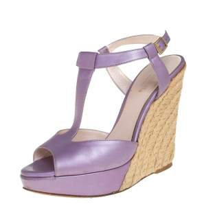 Versace Metallic Purple Leather Wedge Sandals Size 37