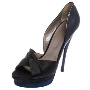 Versace Black/Dark Blue Satin And Patent Leather Criss Cross Platform Pumps Size 40