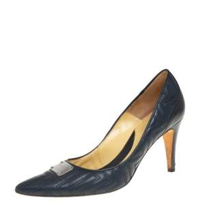 Versace Blue Quilted Leather Pointed Toe Pumps Size 40