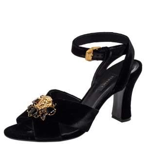 Versace Black Velvet Medusa Embellished Criss Criss Ankle Strap Sandals Size 39.5