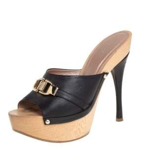 Versace Black Leather Slide Sandals Size 37