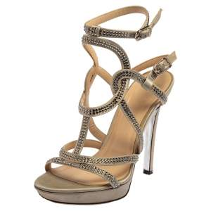 Versace Grey Satin Crystal Embellished  Ankle Strap Sandals Size 37
