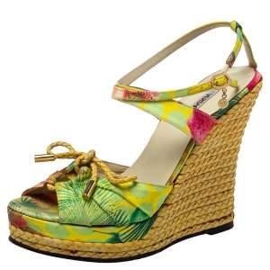 Versace Multicolor Printed Satin Espadrille Wedge Sandals Size 37