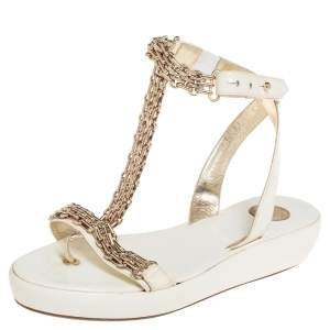 Versace White Patent Leather Chain Ankle Strap Sandals Size 39.5