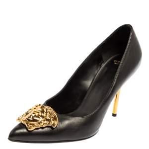 Versace Black Leather Medusa Embellished Pointed Toe Pumps Size 36