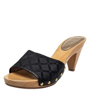 Versace Black Canvas And Leather Mule Sandals Size 39