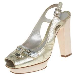 Versace Gold Leather Slingback Sandals Size 37
