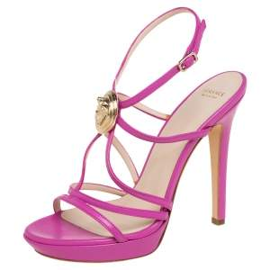 Versace Pink Leather Medusa Strappy Open Toe Sandals Size 37