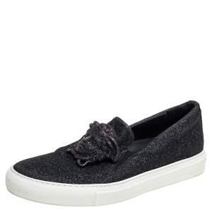 Versace Black Glitter Medusa Slip On Sneakers Size 38